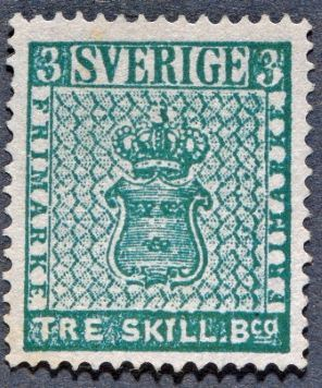 Sweden's first postage stamp, three skilling banco, 1855.